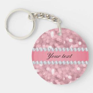 Rosa Glitter Bokeh und Diamanten personalisiert Schlüsselanhänger