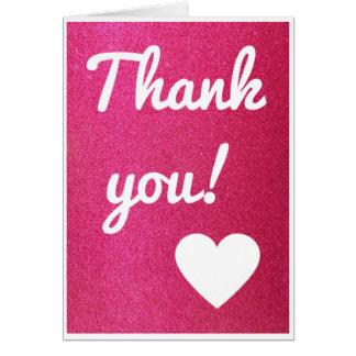 Rosa Glitter danken Ihnen zu kardieren Karte