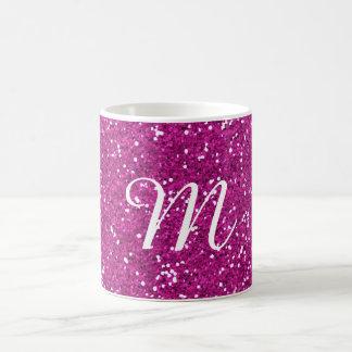 Rosa Glitter-Gewohnheit mit Monogramm Tasse