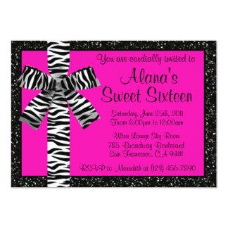 Rosa Glitter laden mit Zebra-Druck-Bogen ein 12,7 X 17,8 Cm Einladungskarte