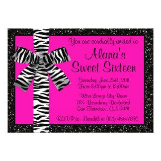 Rosa Glitter laden mit Zebra-Druck-Bogen ein Personalisierte Einladungskarte