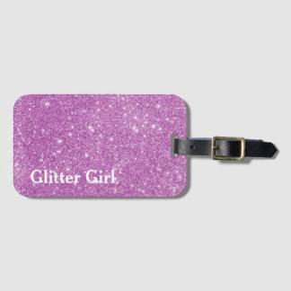 Rosa Glitter-Mädchen-Show Ihr Schein Gepäckanhänger