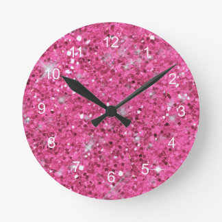 Rosa Glitter-Muster Runde Wanduhr