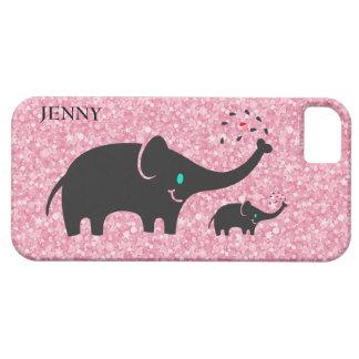 Rosa Glitter-niedliche schwarze Elefanten iPhone 5 Hülle