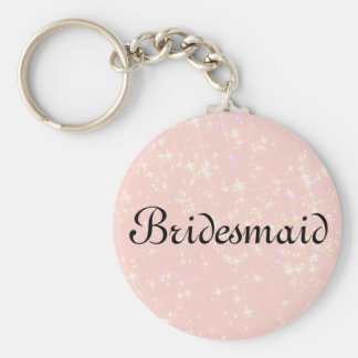 Rosa Glitter-personalisierte Brautjungfer Schlüsselanhänger