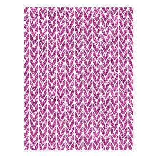 Rosa Glitter-Sparren-Strick-Muster-Druck Postkarte