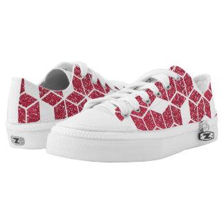 Rosa Glitter-Würfel-Muster-Schuhe Niedrig-geschnittene Sneaker