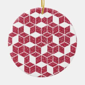 Rosa Glitter-Würfel-Muster-Verzierung Keramik Ornament