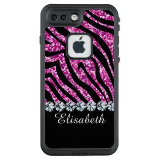 Rosa Glitter Zebra-Diamantschwarzes personalisiert LifeProof FRÄ' iPhone 8 Plus/7 Plus Hülle