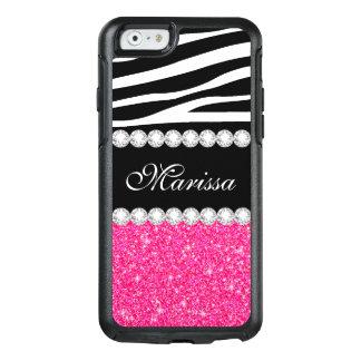 Rosa GlitterSchwarz-weißer Zebra OtterBox iPhone 6/6s Hülle