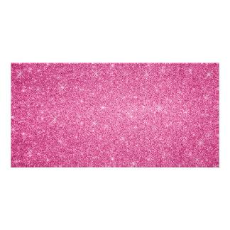 Rosa Glittersterne Photo Karte