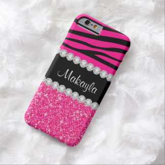 Rosa Glitterzebra-Streifen auf schwarzem iPhone 6 Barely There iPhone 6 Hülle