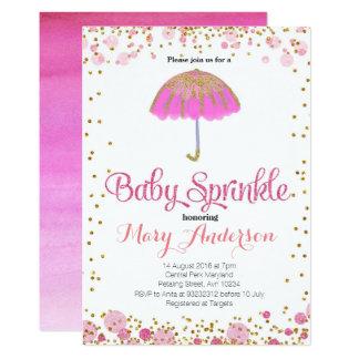 ROSA GLITZER Baby besprühen Einladungsregenschirm Karte