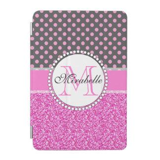 Rosa Glitzer und rosa Polka-Punkte auf dem Grau iPad Mini Hülle