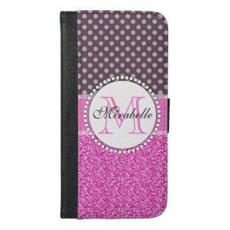 Rosa Glitzer und rosa Polka-Punkte auf dem Grau iPhone 6/6s Plus Geldbeutel Hülle
