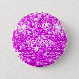 Rosa Glitzern-Glitter und Sternknopf Runder Button 5,7 Cm