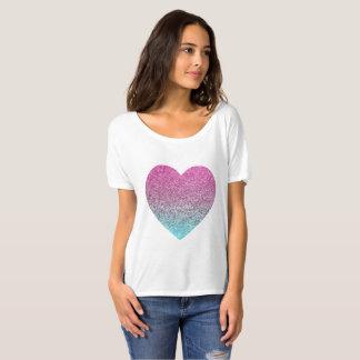 Rosa Glitzern-Herz-T - Shirt