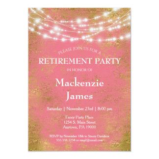 Rosa Gold beleuchtet Ruhestands-Party Einladung