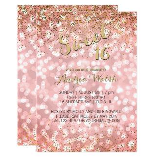 Rosa Gold elegantes Bokeh beleuchtet Karte