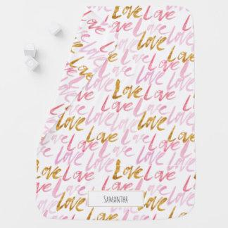 Rosa &Gold Liebe-Monogramm-Baby-Decke Babydecke