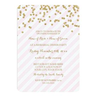 Rosa Gold Stripes Proben-Abendessen-Party 12,7 X 17,8 Cm Einladungskarte