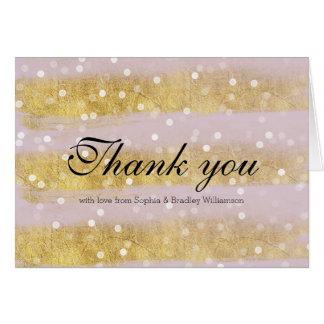 Rosa Gold und weiße Bokeh Streifen danken Ihnen Karte