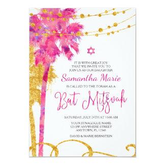 Rosa GoldAquarell-Strand-Schläger Mitzvah 12,7 X 17,8 Cm Einladungskarte