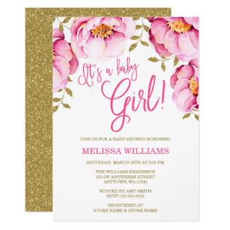 Rosa GoldblumenAquarell-Babyparty-Einladung 12,7 X 17,8 Cm Einladungskarte