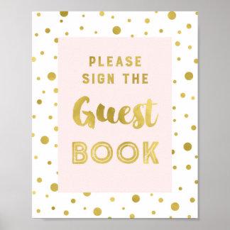 Rosa Goldconfetti-Gast-Buch-Hochzeits-Zeichen Poster