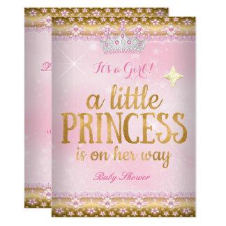 Rosa-Goldfolien-Spitze-Tiara Prinzessin-Babyparty Karte