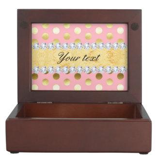 Rosa Goldfolien-Tupfen-Diamanten Erinnerungsbox