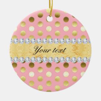 Rosa Goldfolien-Tupfen-Diamanten Rundes Keramik Ornament