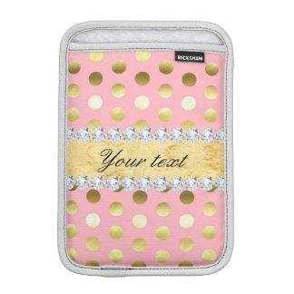 Rosa Goldfolien-Tupfen-Diamanten Sleeve Für iPad Mini