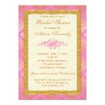 Rosa, GoldGlitter-Damast-Brautparty-Einladung