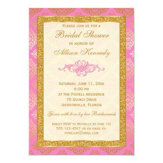 Rosa, GoldGlitter-Damast-Brautparty-Einladung 12,7 X 17,8 Cm Einladungskarte