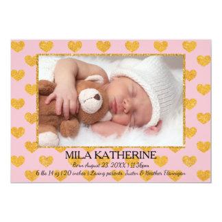 Rosa/GoldGlitter-Herz-Foto-Geburts-Mitteilung Karte