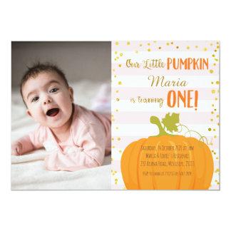 Rosa Goldkürbis-erste Geburtstags-Einladung Karte