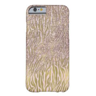 Rosa Goldschein-Imitat-Glitterzebra-Druck Barely There iPhone 6 Hülle