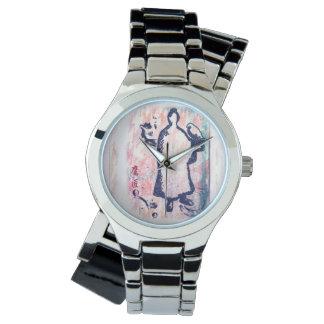 Rosa Graffiti Samurai-und Armbanduhr