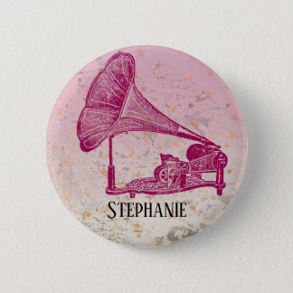 Rosa Grammophon-Anhänger Runder Button 5,1 Cm