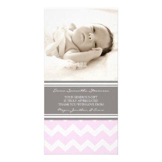 Rosa Grau danken Ihnen Baby-Duschen-Foto-Karten Bildkarte