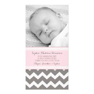 Rosa Grau danken Ihnen Baby-Duschen-Foto-Karten Bildkarten