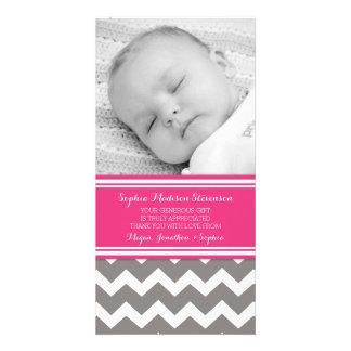 Rosa Grau danken Ihnen Baby-Duschen-Foto-Karten Foto Grußkarte