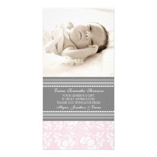 Rosa Grau danken Ihnen Baby-Duschen-Foto-Karten Photo Grußkarte