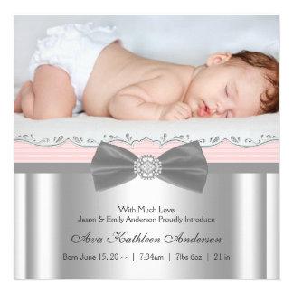 Rosa graue Baby-Mädchen-Foto-Geburts-Mitteilung Personalisierte Einladungskarten