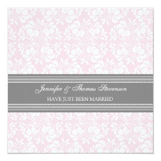 Rosa graue Damast-gerade verheiratete Quadratische 13,3 Cm Einladungskarte