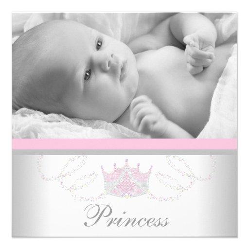 Rosa graue Mädchen-Prinzessin Birth Announcements Individuelle Einladungskarten