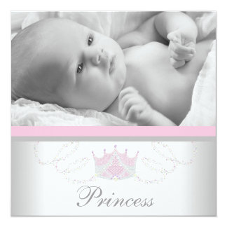 Rosa graue Mädchen-Prinzessin Birth Announcements Quadratische 13,3 Cm Einladungskarte