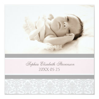 Rosa graue Schablonen-neue Baby-Geburts-Mitteilung Quadratische 13,3 Cm Einladungskarte