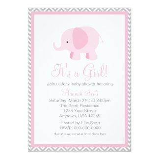 Rosa graue Zickzack Elefant-Mädchen-Baby-Dusche Karte